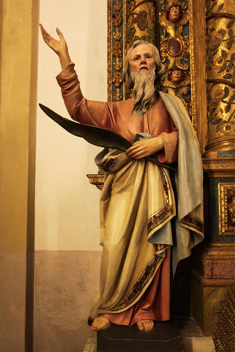 Chiesa parrocchiale di Tiser: statua di S. Bartolomeo