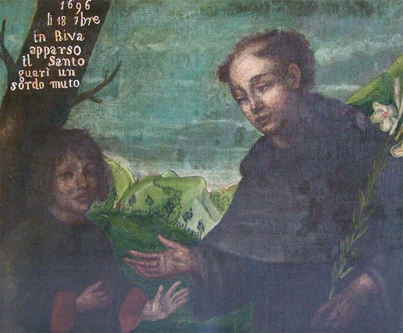 La tela che ricorda il prodigio compiuto da S. Antonio a Rivamonte