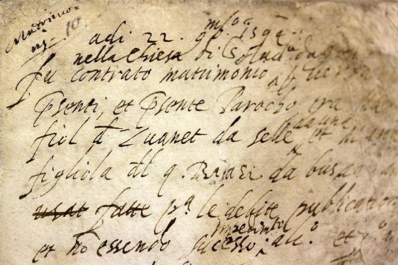 L'atto di registrazione del primo matrimonio celebratosi a Gosaldo dalla nascita della nuova parrocchia (1594)